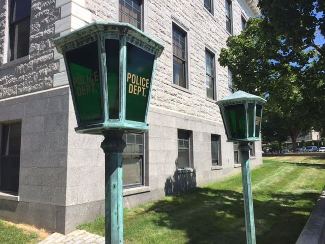 Old Police Street Lights on Corner